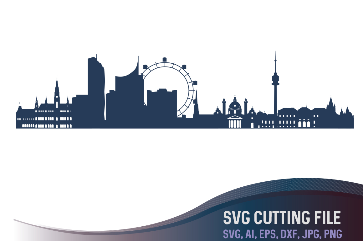 Vienna Vector Skyline, Austria city vector, European capitals SVG, JPG, PNG, DXF, CDR, EPS, AI example image 1