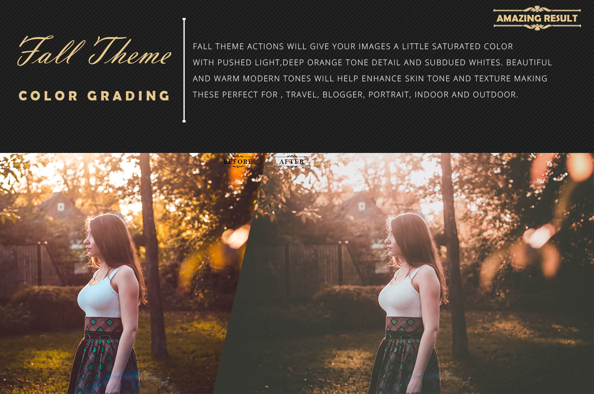 150 Fall Theme Color Grading Premium Photoshop action example image 4