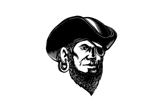 Pirate Wearing Eye Patch Scratchboard  example image 1