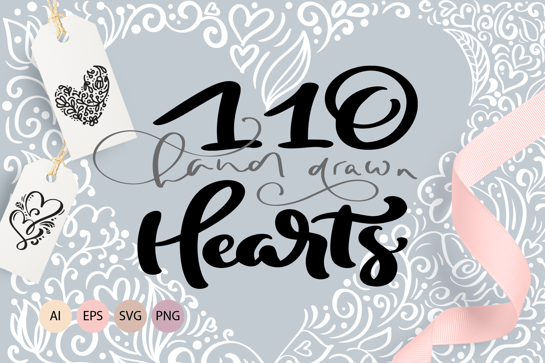 Valentine vector hand draw hearts SVG example image 1