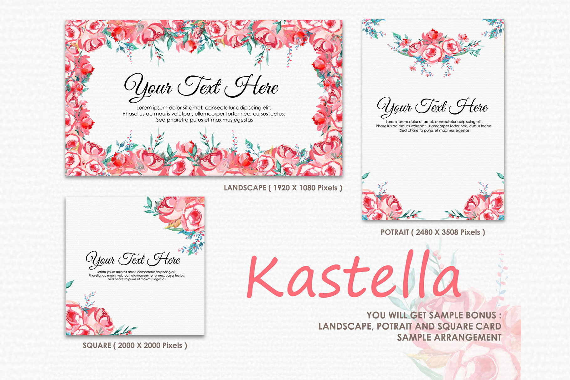Kastella - Digital Watercolor Floral Flower Style Clipart example image 4