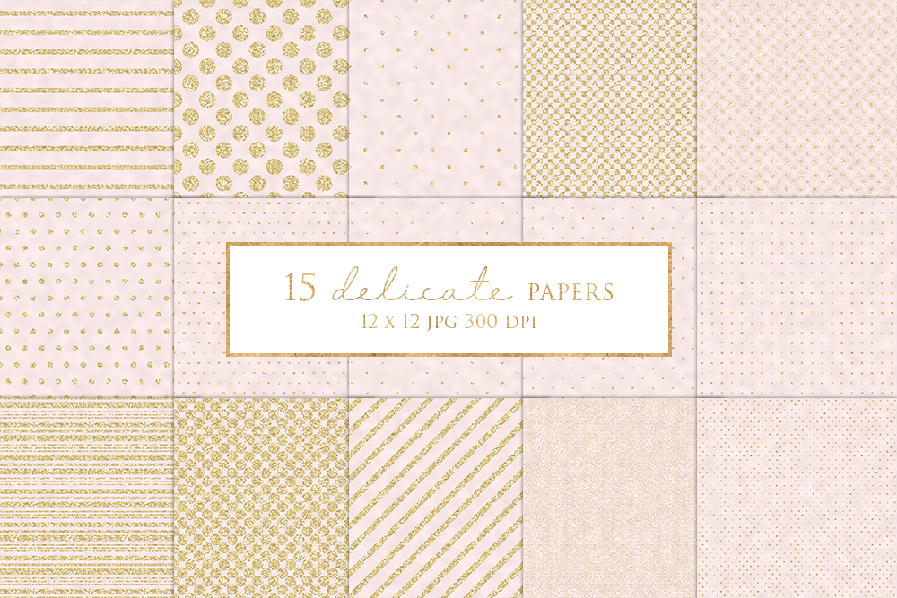 15 Gold and Pink Digital Paper Pack example image 1