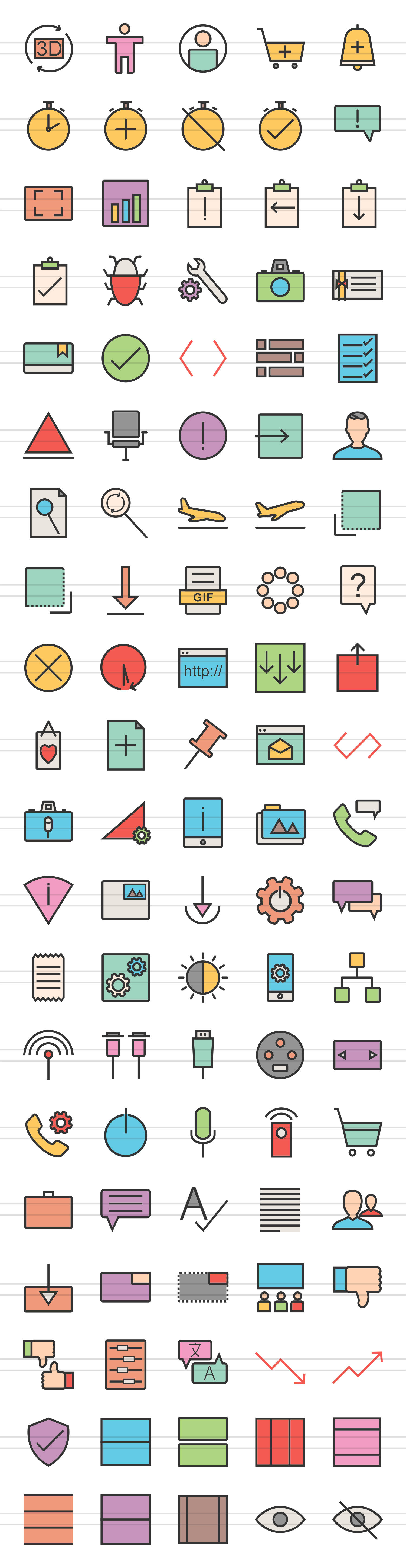 100 Material Design Linear Multicolor Icons example image 2