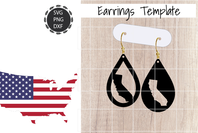 Earrings Template - California Teardrop Earrings Svg example image 1