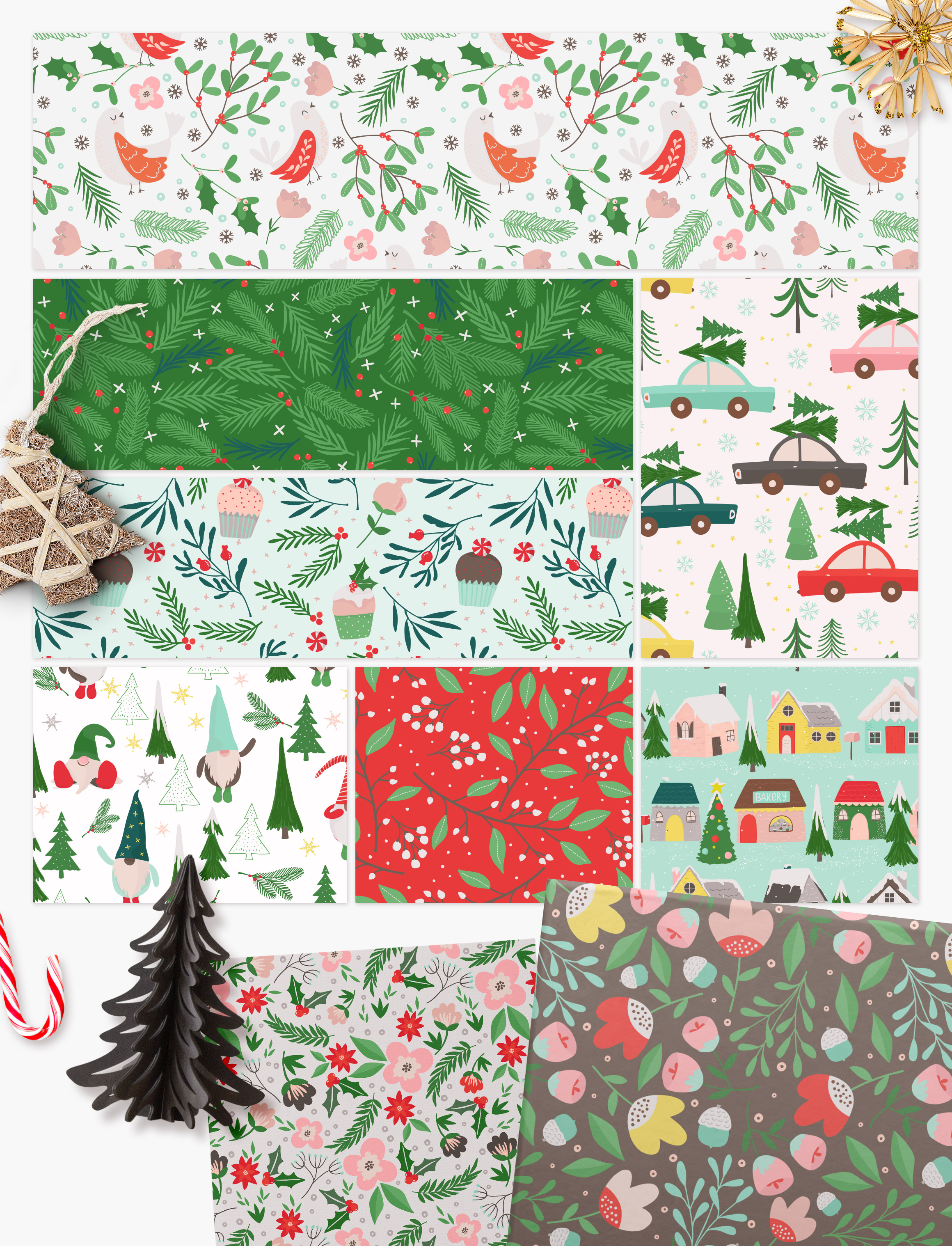 Winter Village Seamless Patterns example image 5