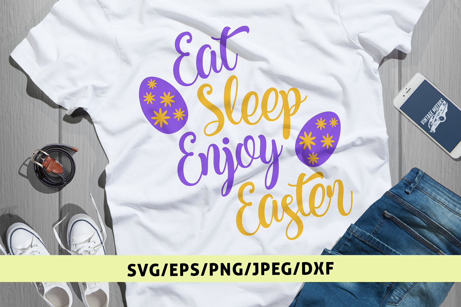 Eat Sleep Enjoy Easter - Easter SVG EPS DXF PNG Cut Files example image 1