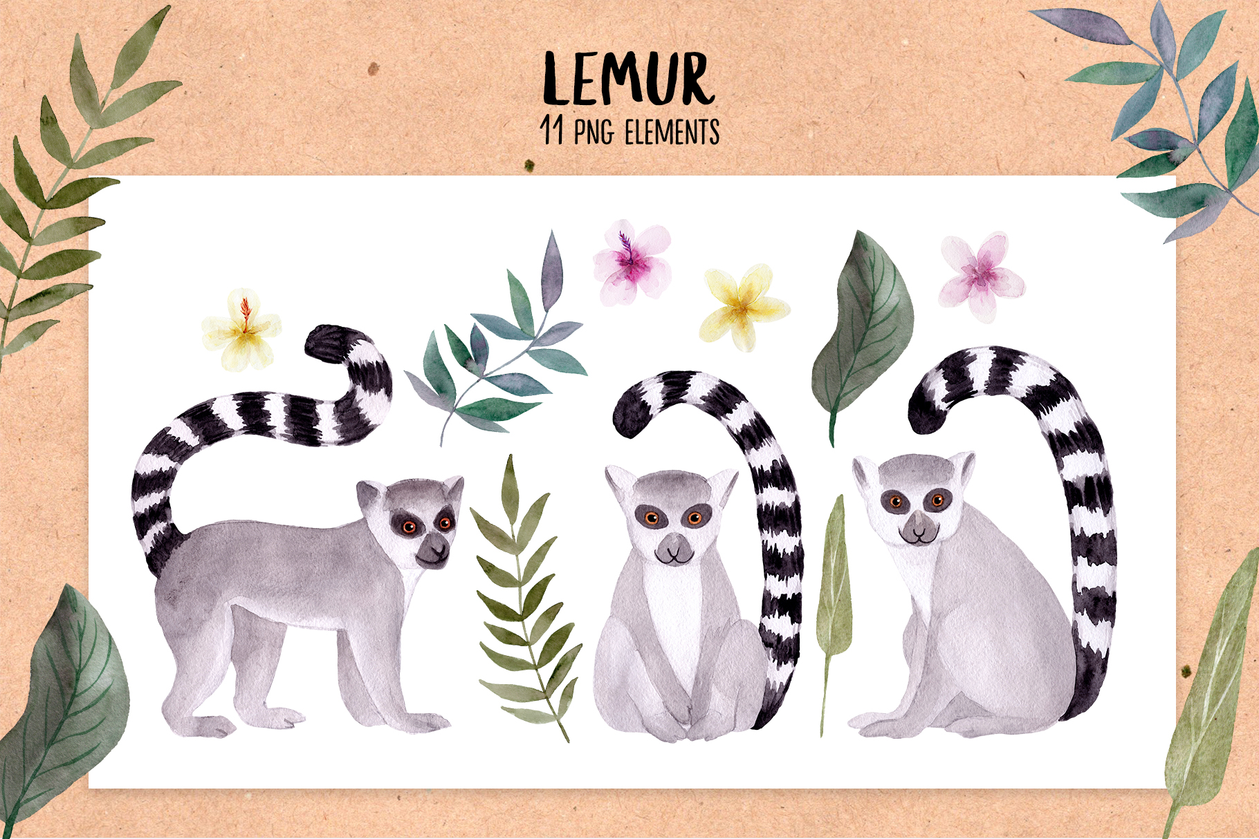Watercolor Lemur. Patterns, Cliparts example image 2