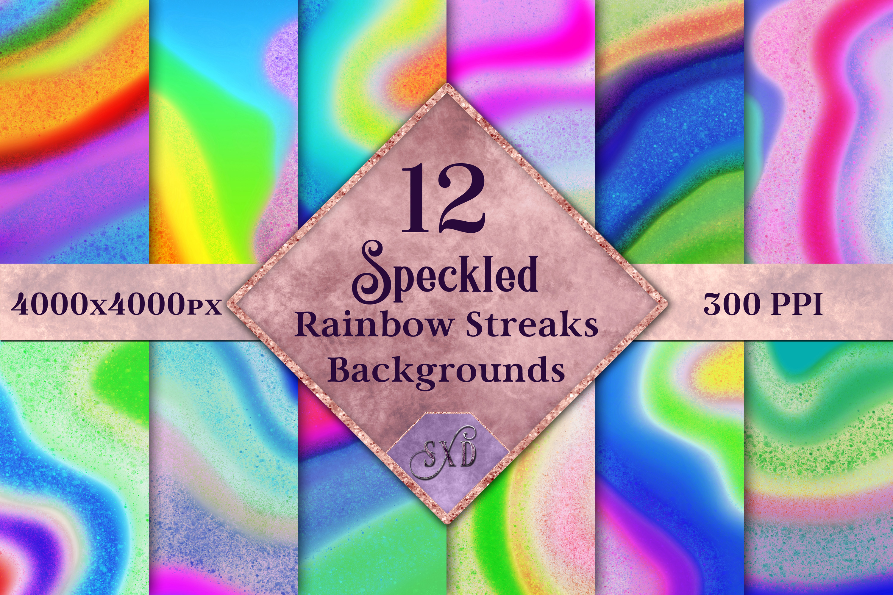 Speckled Rainbow Streaks Backgrounds - 12 Image Textures example image 1
