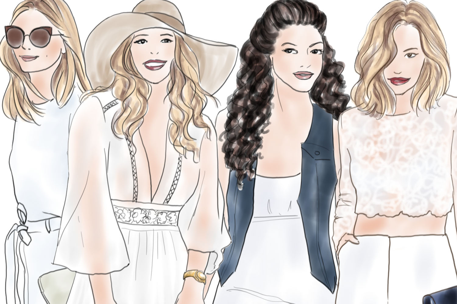 Watercolor Fashion Clipart - Girls in Summer White - Light Skin example image 3