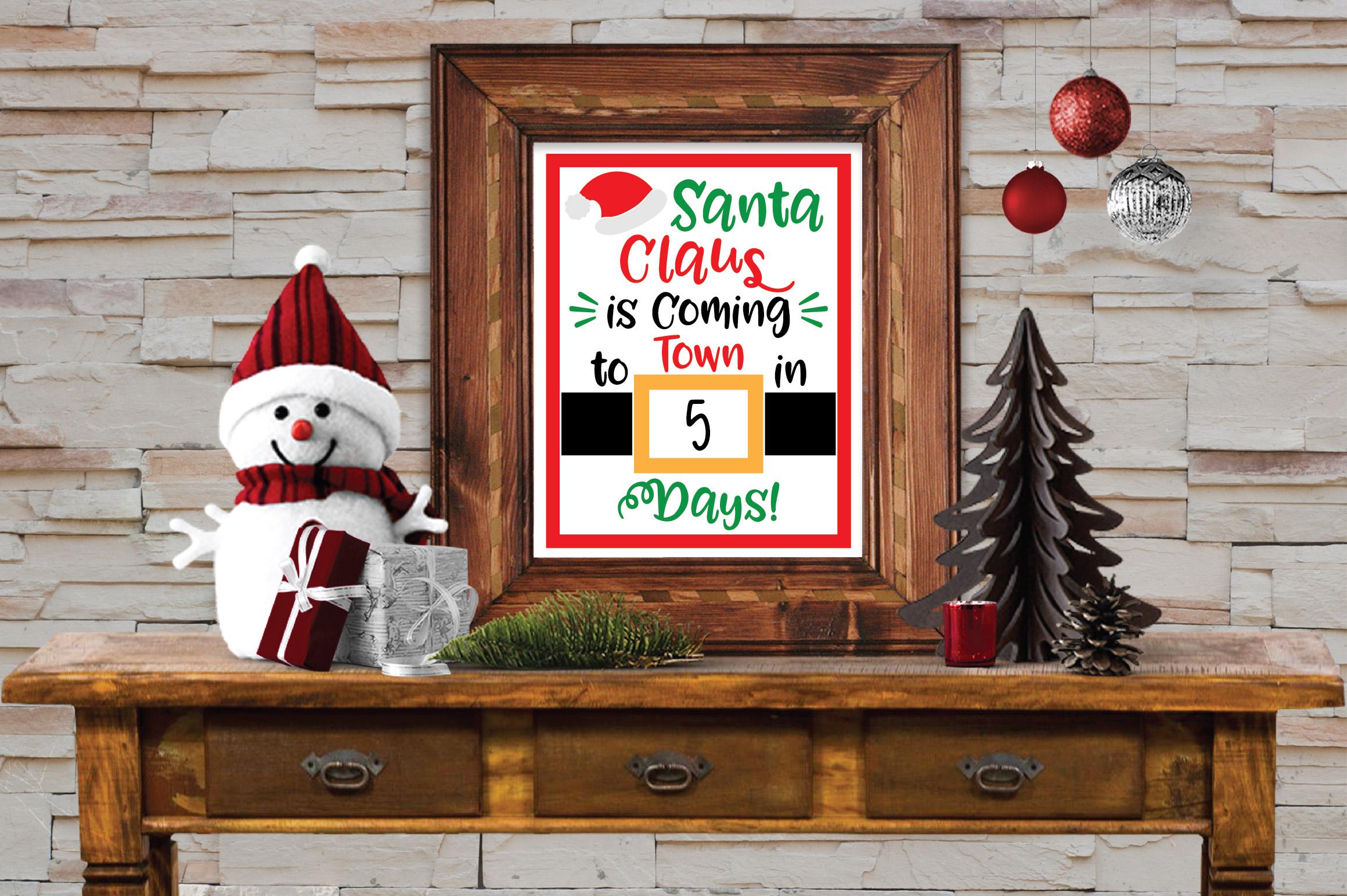 Christmas Countdown SVG Cut File - Santa SVG DXF PNG EPS example image 2