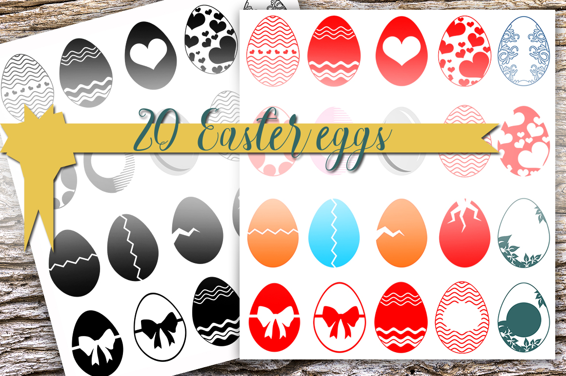 Easter egg designs - 20 pieces, Digital download for Cutting Machines, Cricut, Silhouette, Dxf, Cdr, Png, Svg. example image 2