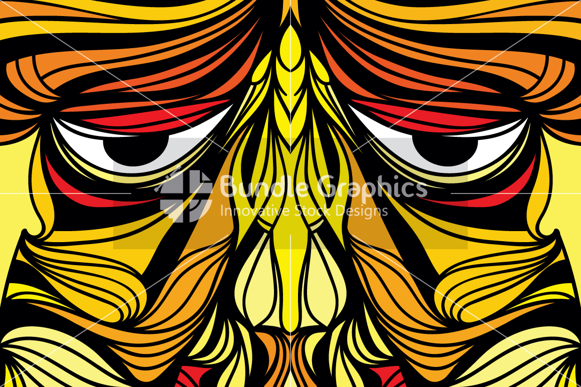 Tribal Human Face - Illustrative Design Composition example image 2