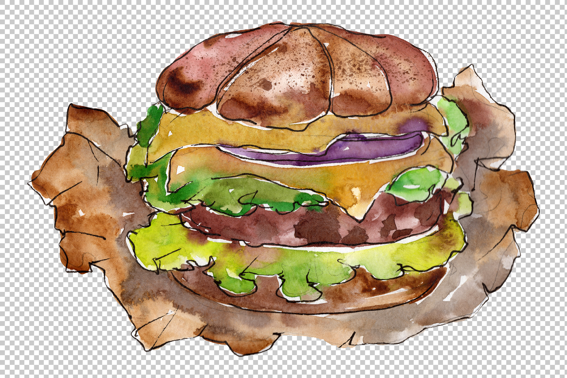 Hamburger black crunchy Watercolor png example image 5