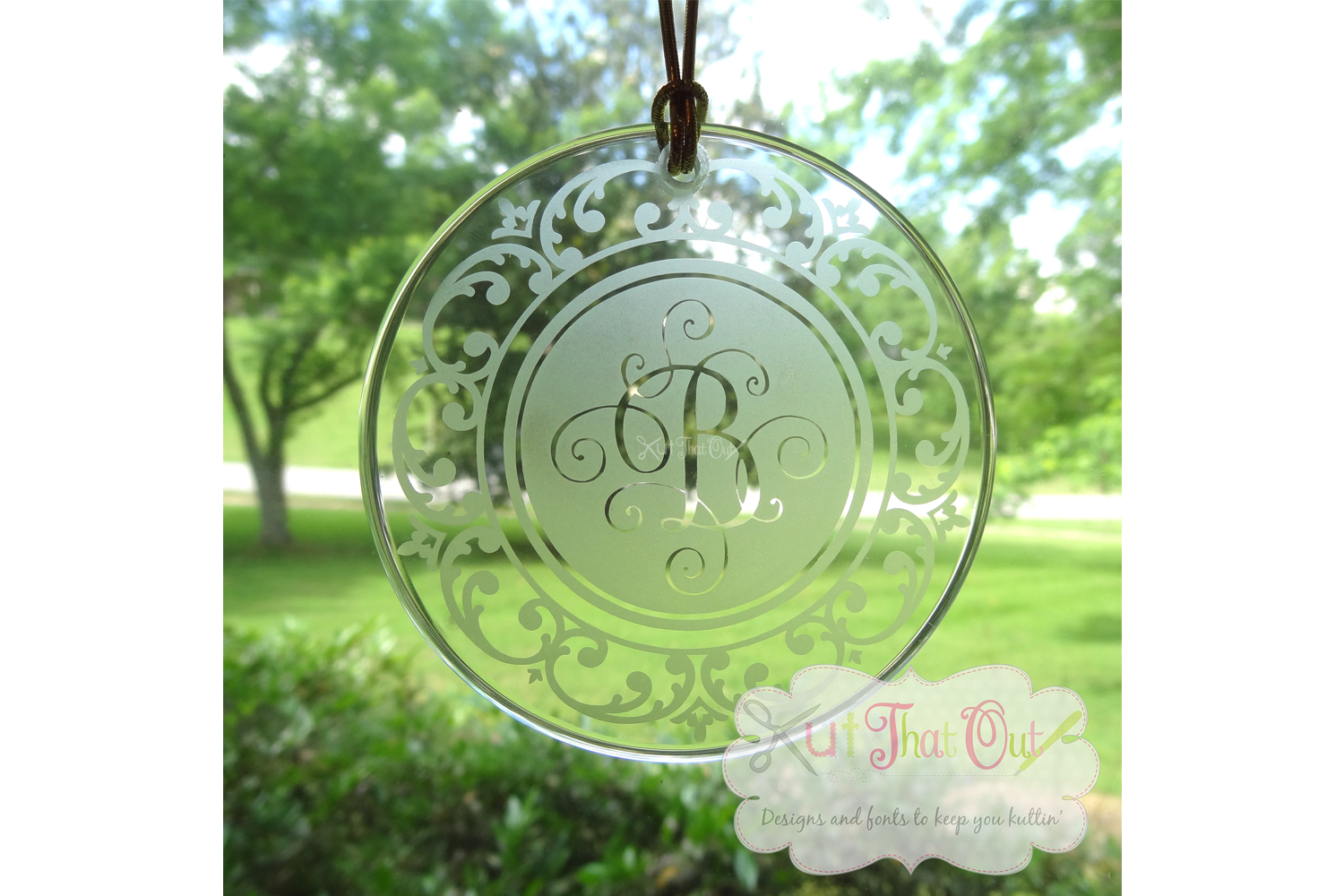 Scallop Scroll Monogram Font Frame SVG & DXF Cut File example image 2