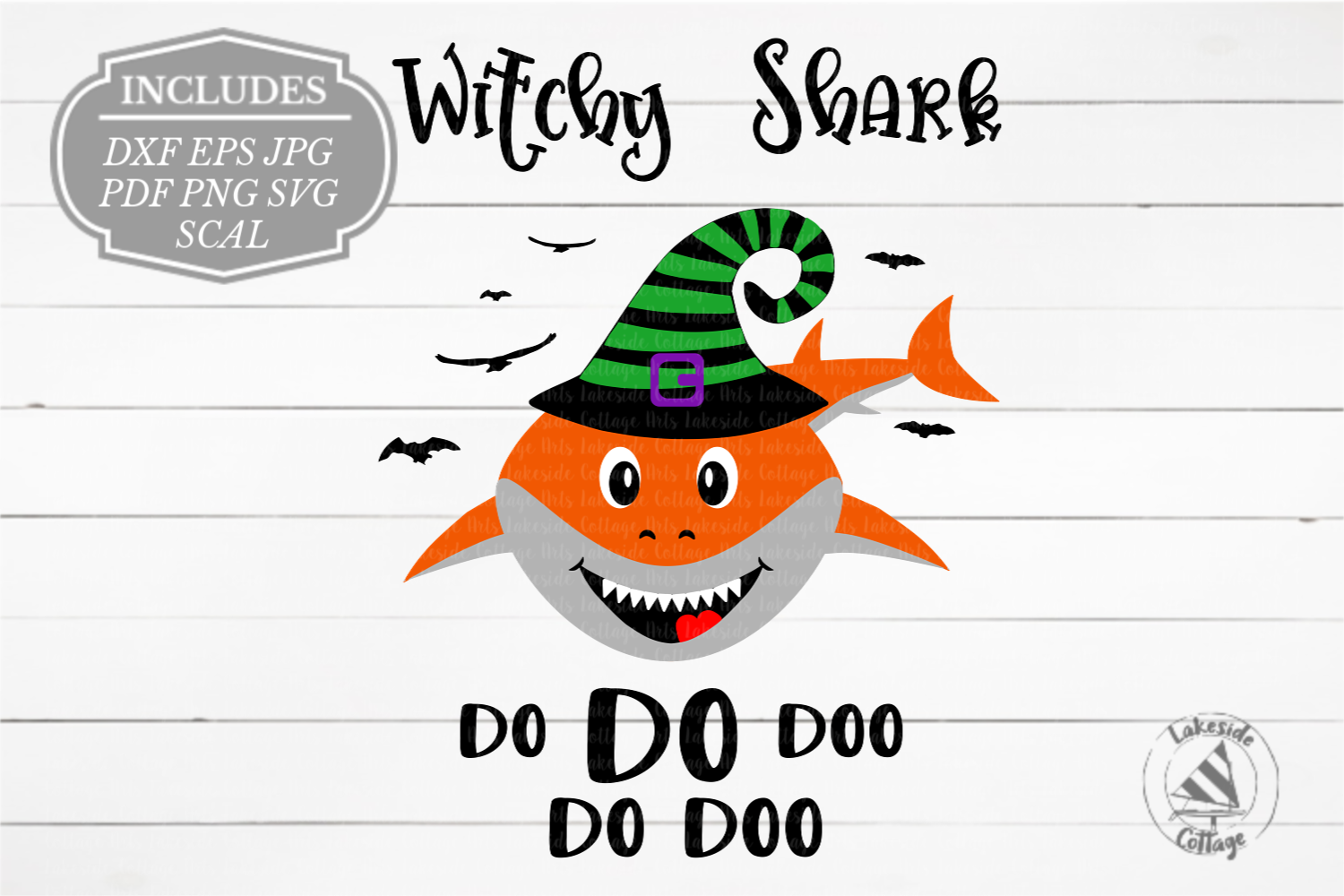 Witchy Shark Halloween Shark in Witch Hat SVG Design example image 1