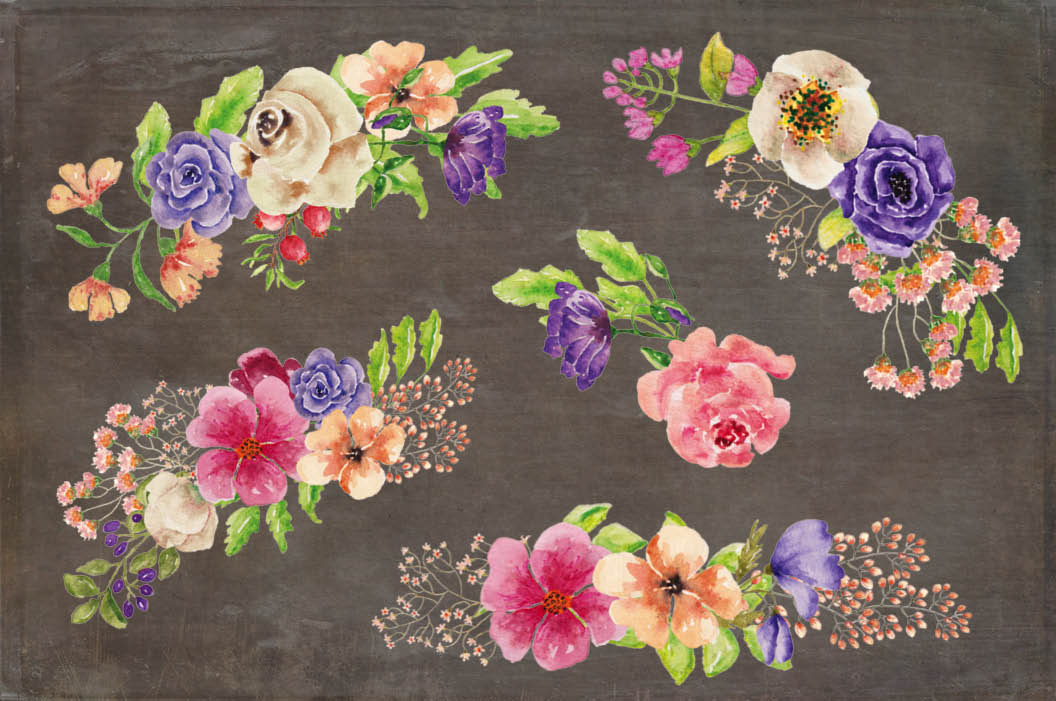 Complete alphabet in mixed watercolor flowers example image 7