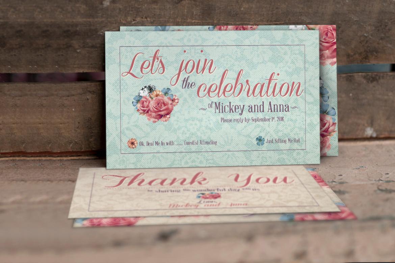Flower Pattern Wedding Invitation example image 4