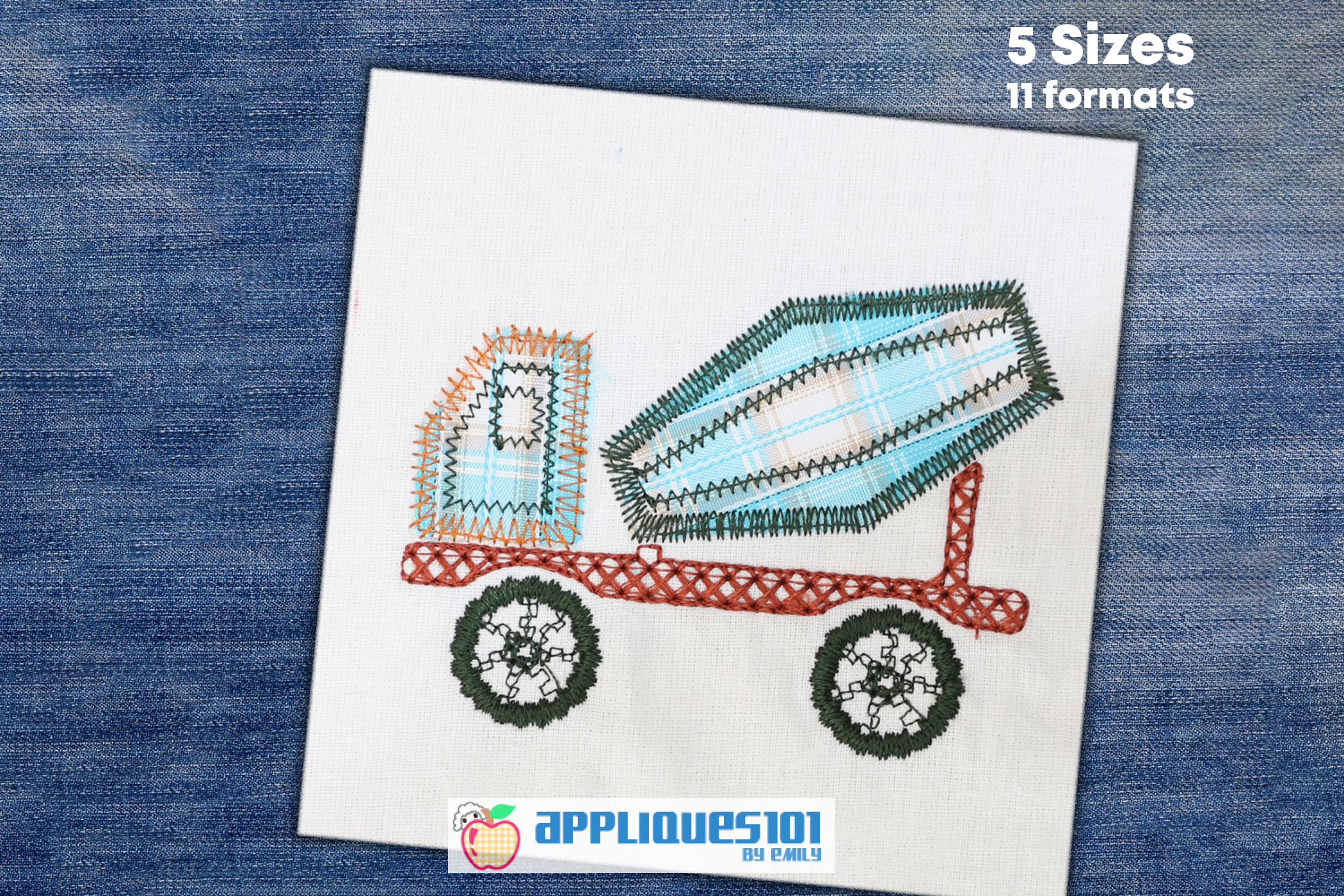 Cement Truck Machine Embroidery Applique Design - Trucks example image 1