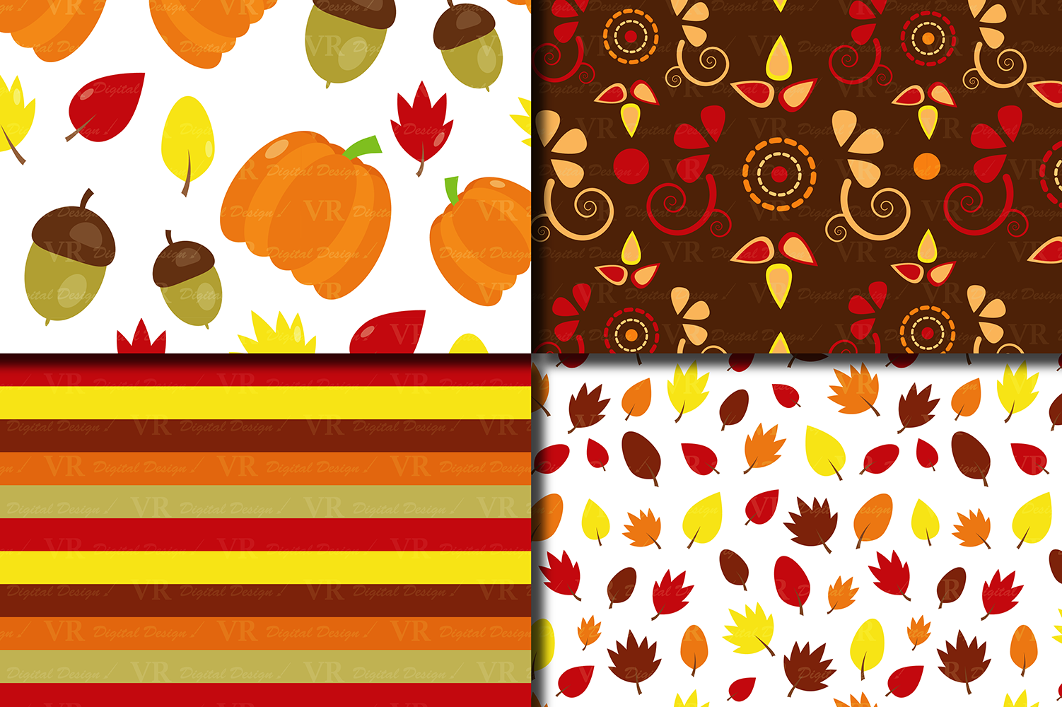 Autumn Digital Paper - Fall Patterns with Pumpkin, Acorn and Leaves example image 2
