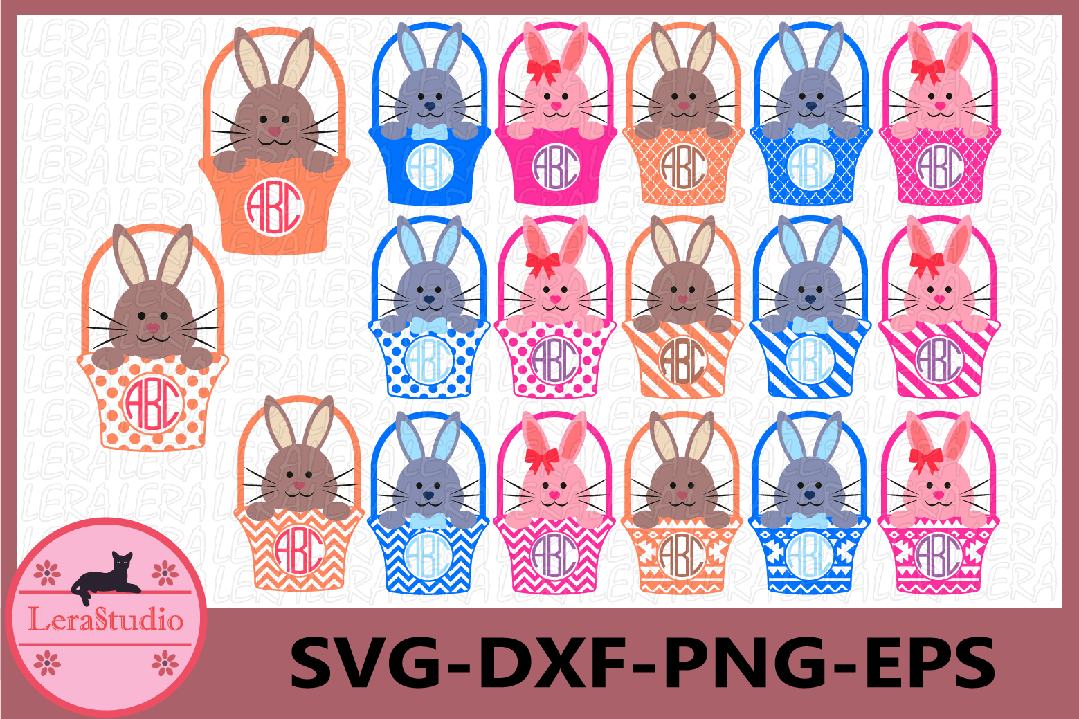 Bunny Monogram Svg, Bunny Easter Basket, Bunny Easter SVG example image 1