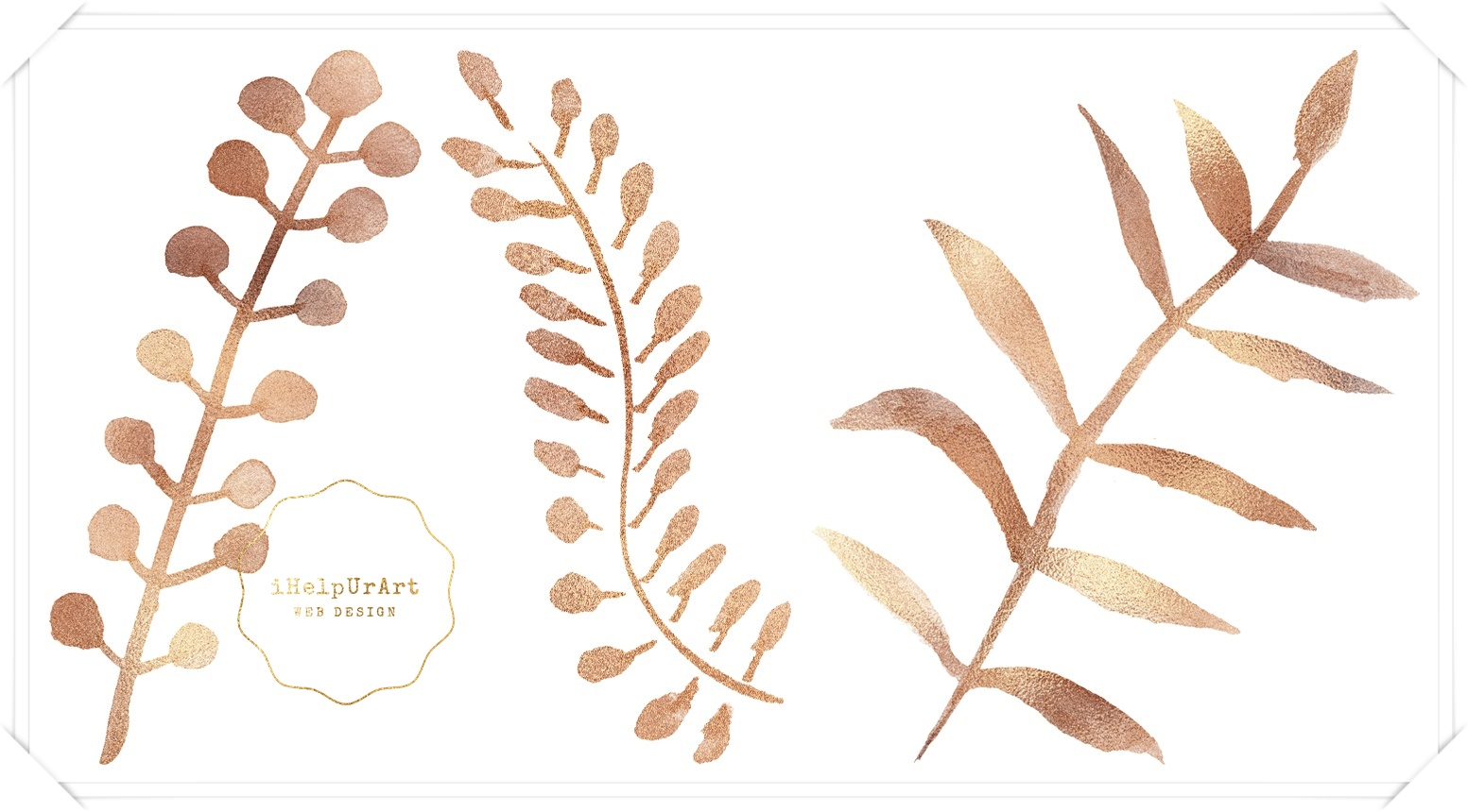 Watercolor and Copper Botanical Cip Art example image 7