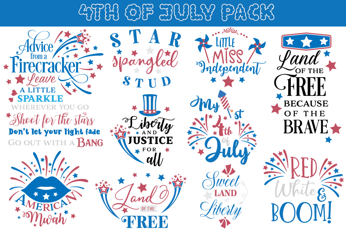 4th of July SVG Pack - 21 Patriotic Cutting Files example image 2
