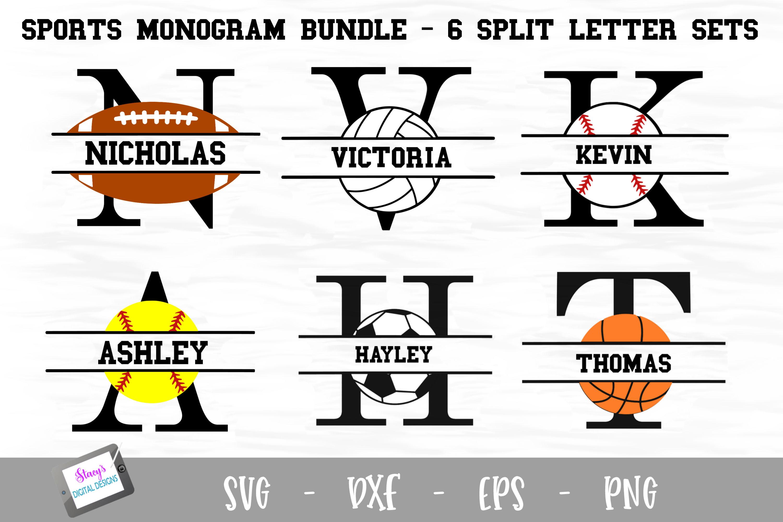 Sports Monogram Bundle - 6 Sets of Sports Split Letters A-Z example image 1
