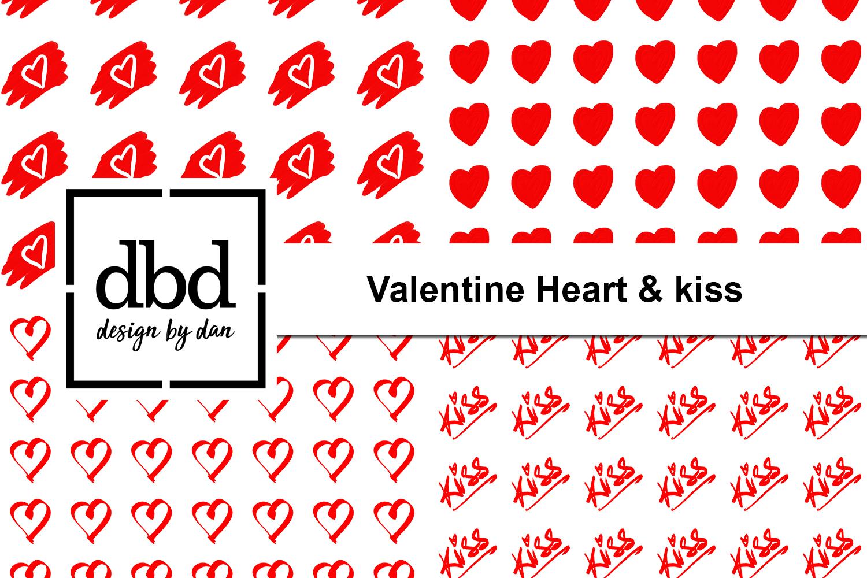 Valentine Heart & Kiss - Hand Drawn example image 1