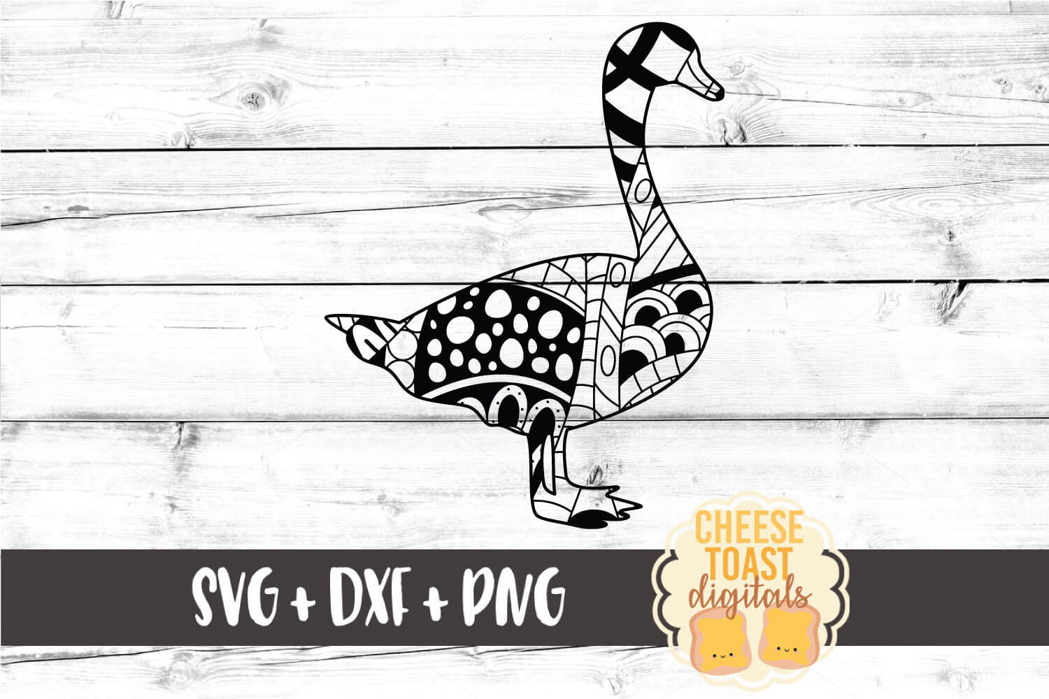 Goose - Zen Doodle Art - Animal SVG PNG DXF Files example image 1