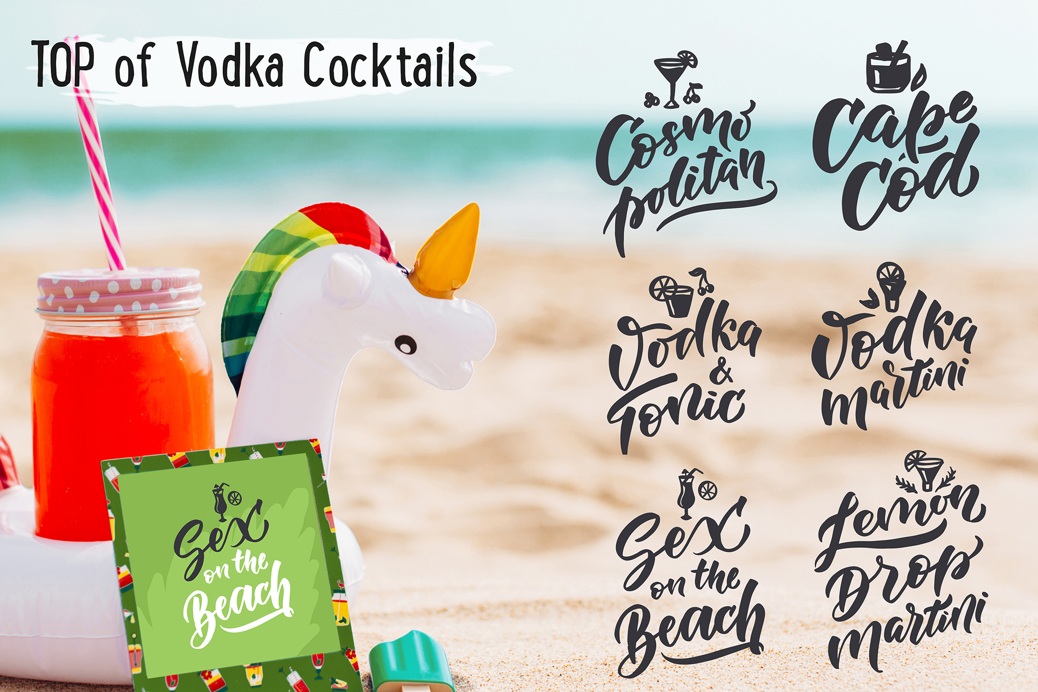 Cocktails bar, lettering & clipart example image 7