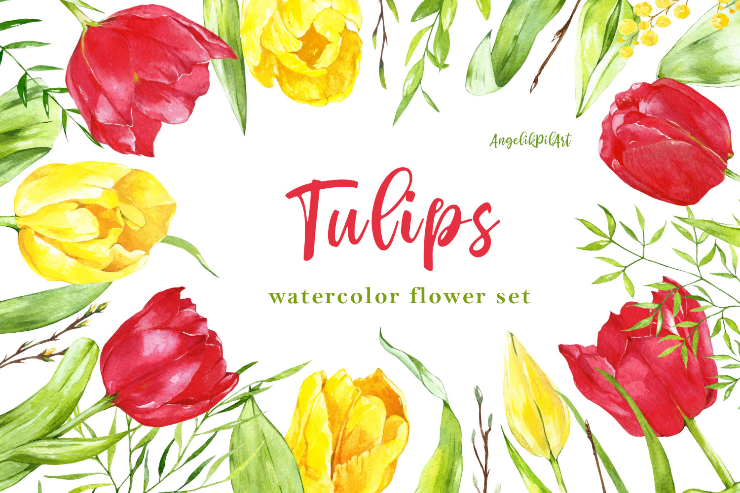 Watercolor hand- painted clipart. red ,yellow tulips, example image 1
