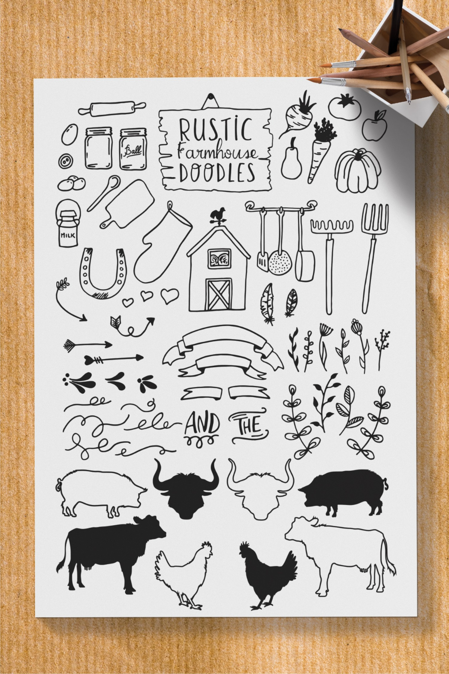 Eliott and Fern rustic font duo & Farmhouse doodles example image 9