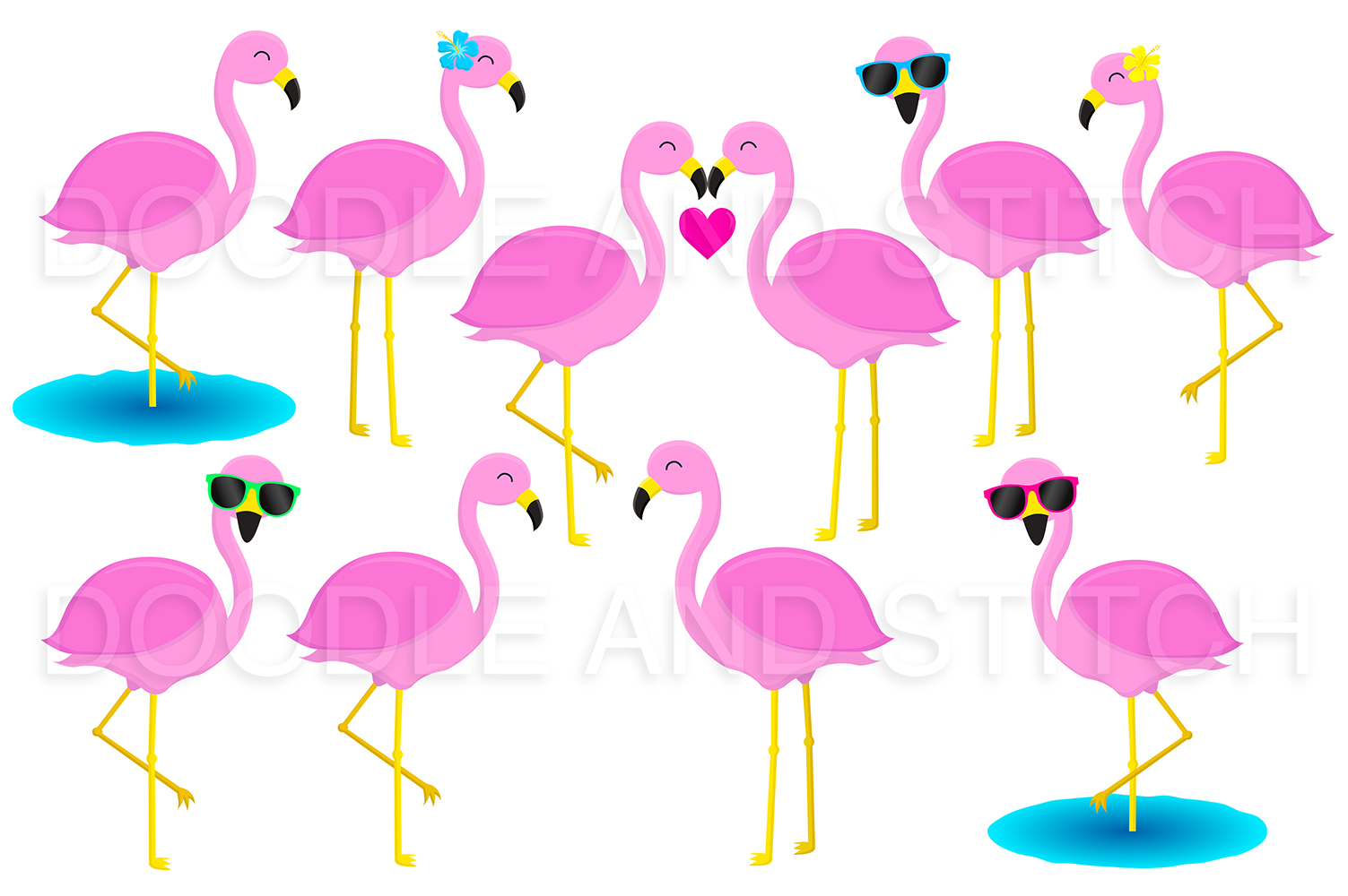 Flamingo Clipart Illustrations example image 2