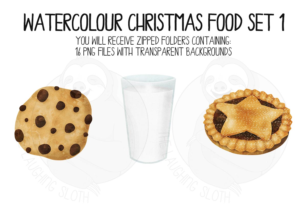 Watercolor Christmas Food Clipart Set 1 example image 4