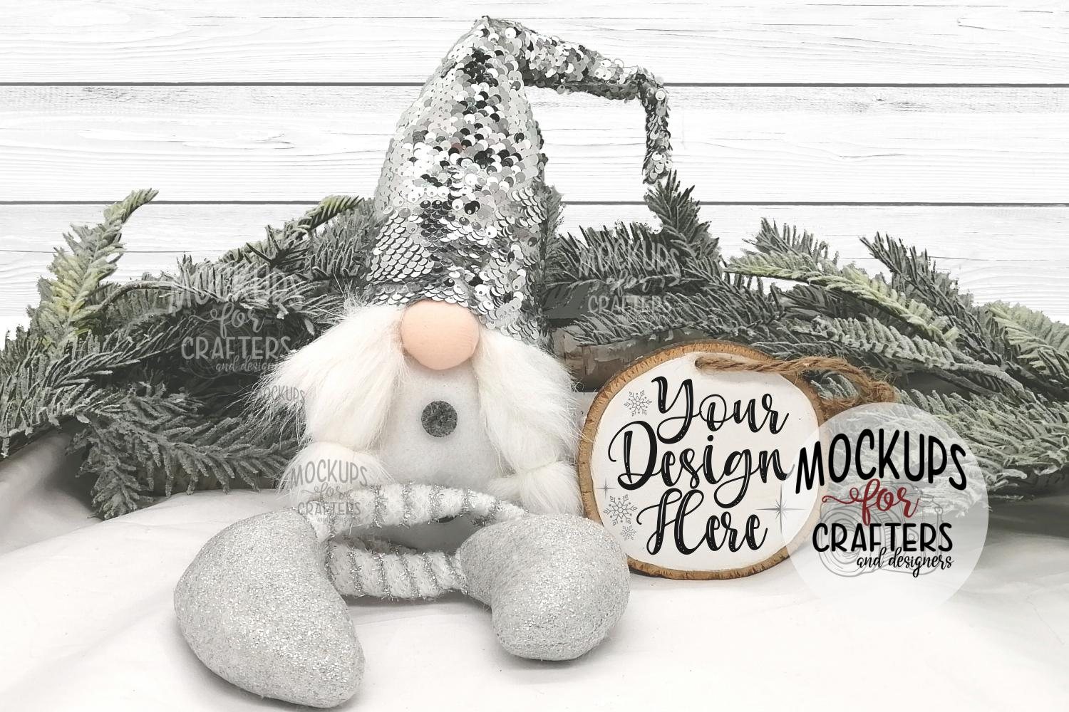 Wood Slice Ornament, Christmas, Winter, Gnome example image 1