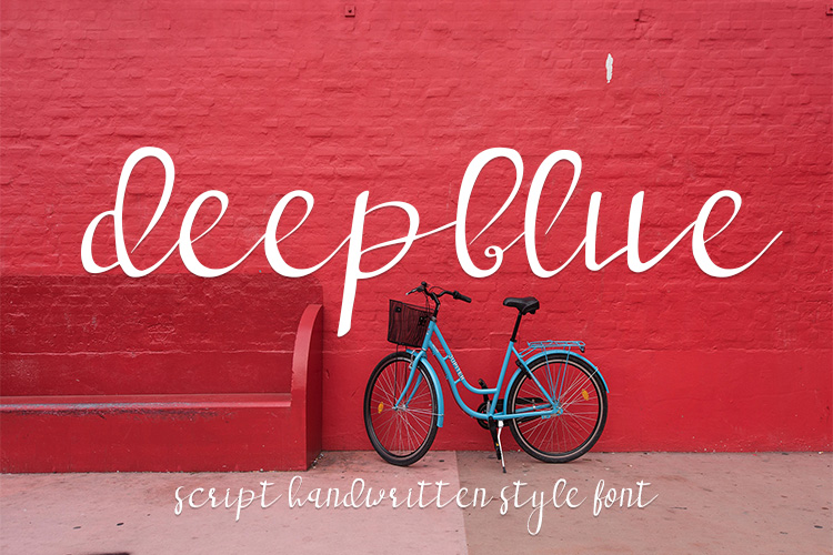 deep blue script handwritten font example image 1