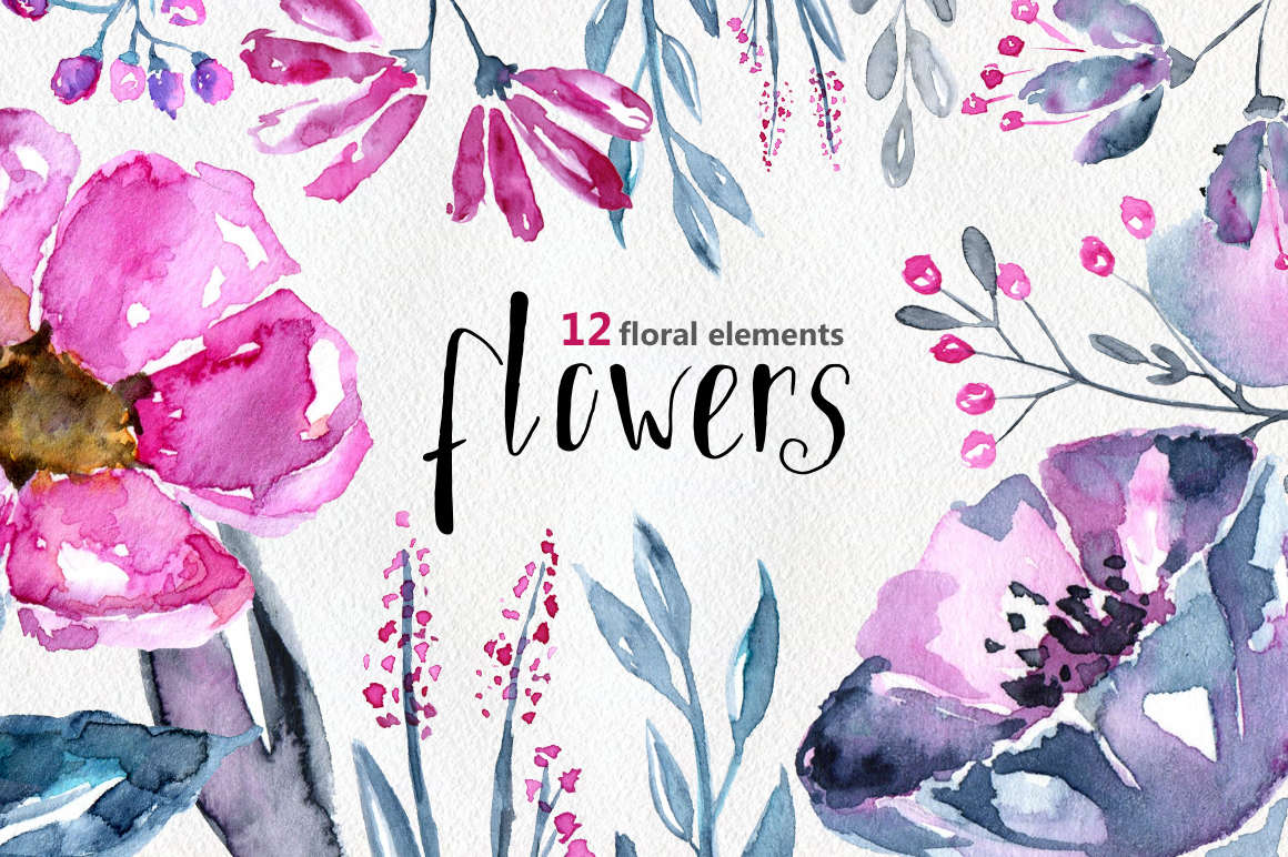 12 Watercolor floral elements example image 1
