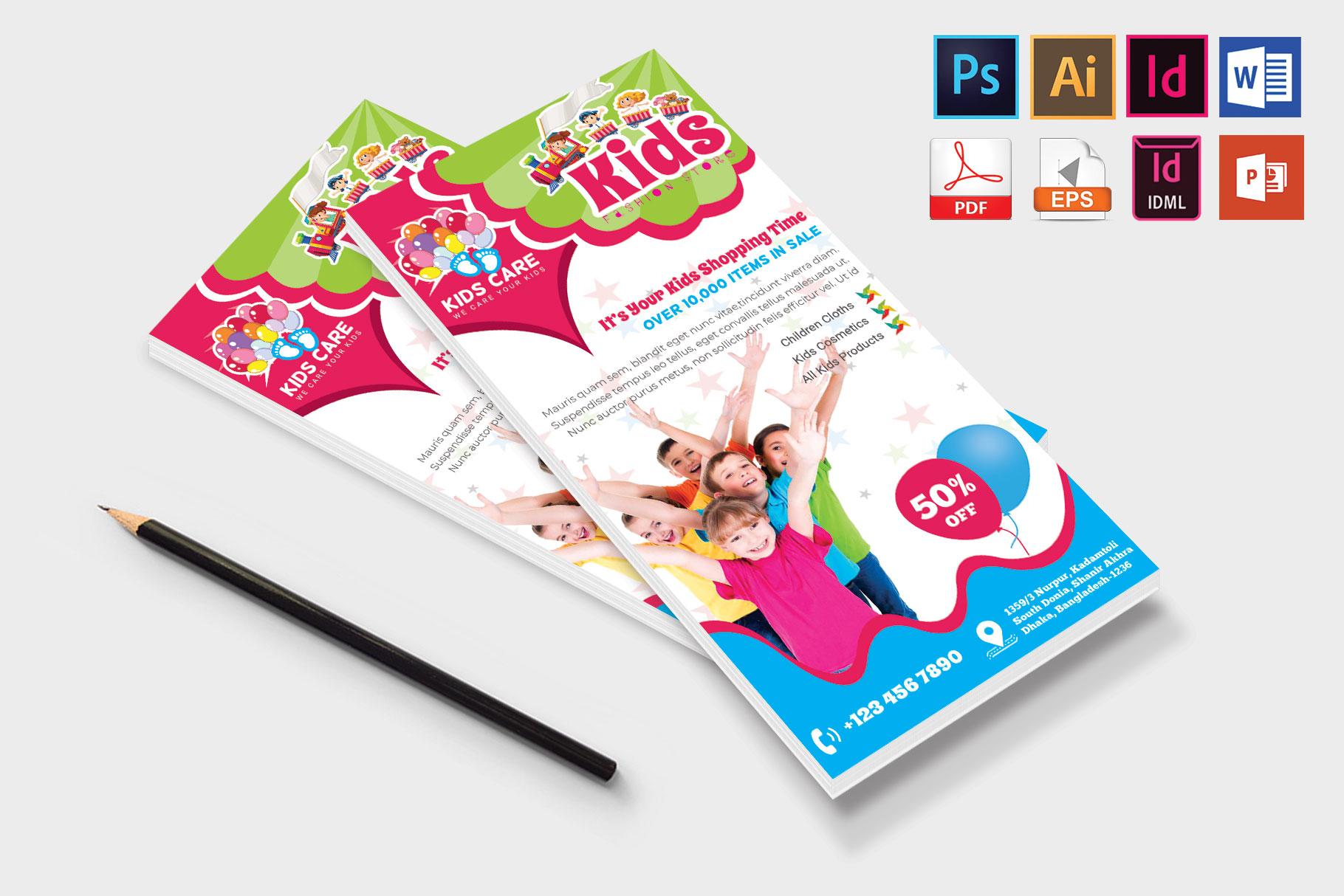 Rack Card | Kids Fashion DL Flyer Vol-02 example image 4
