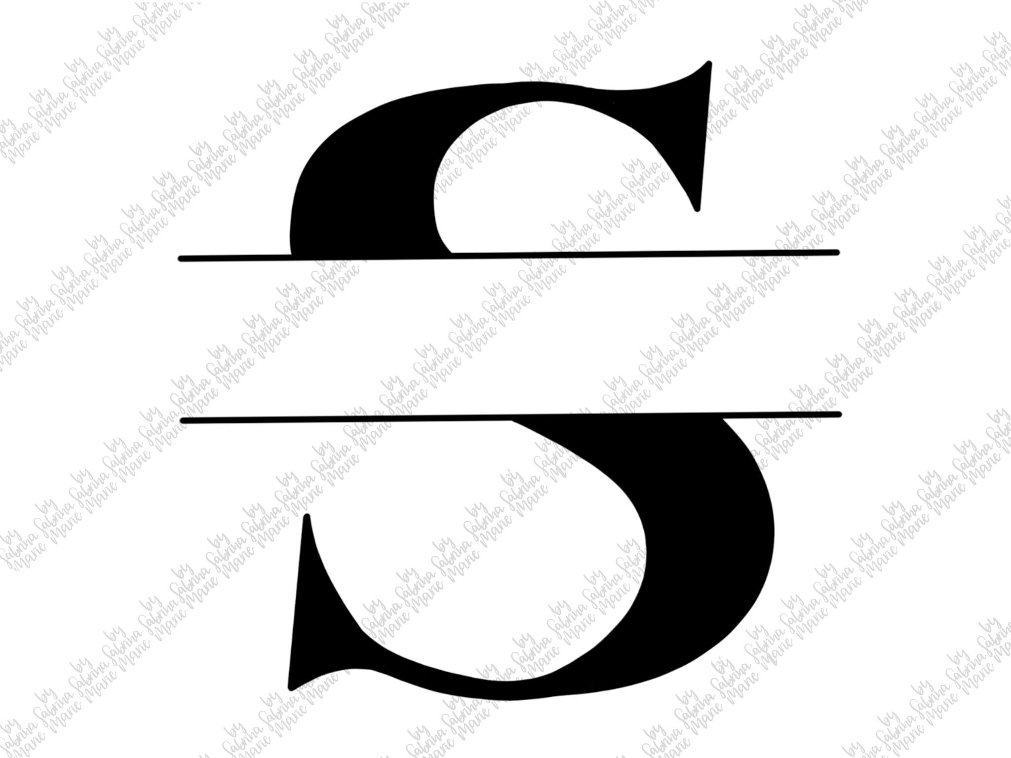 Split Monogram S - Handdrawn - SVG/PNG example image 2