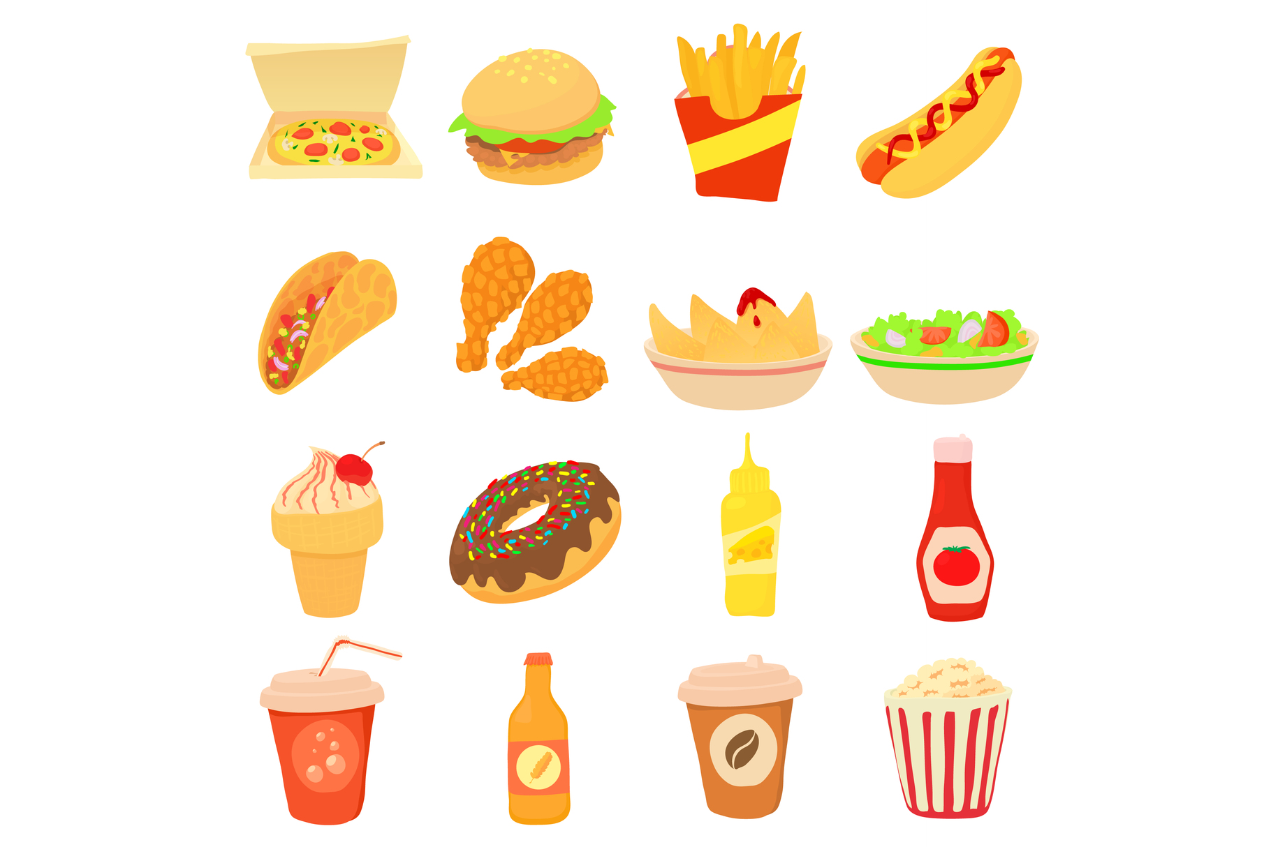 Fast Food Icons Set Cartoon Style