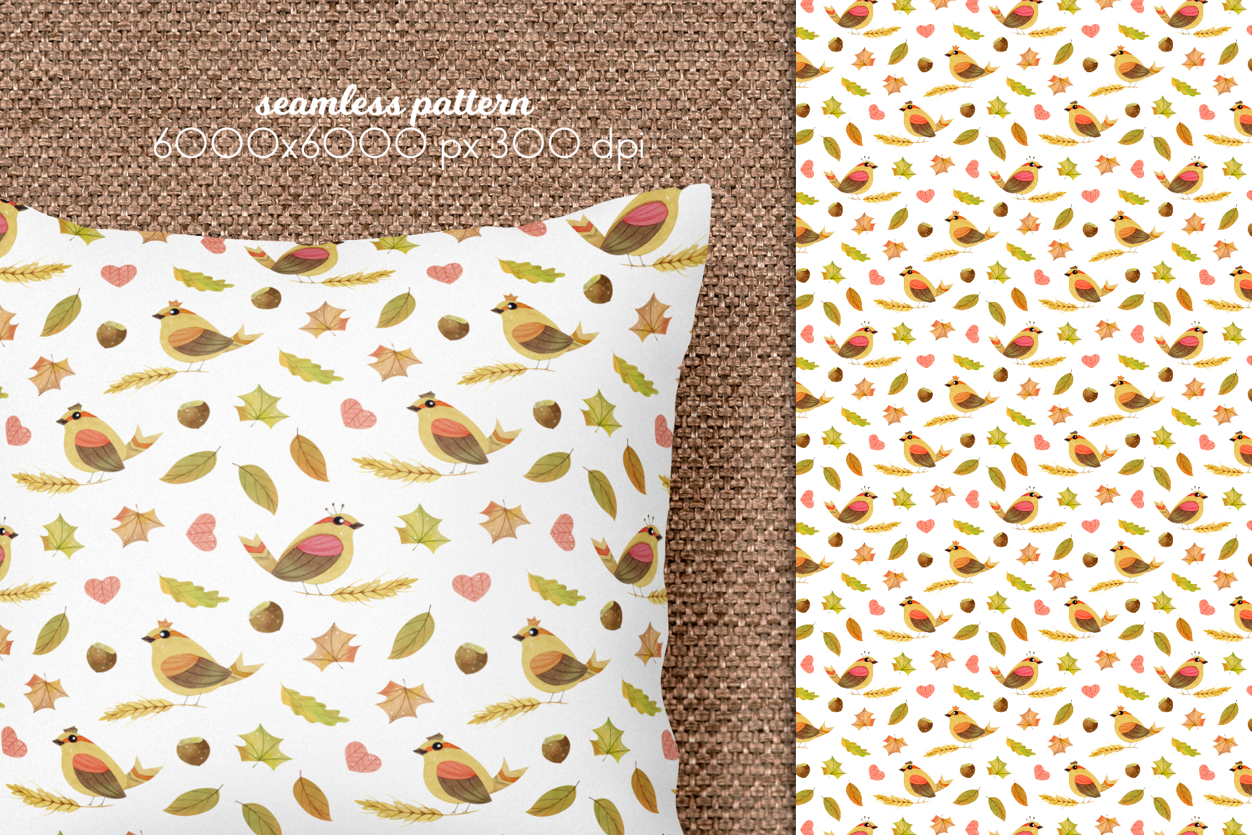 Watercolor Autumn Seamless Patterns Collection example image 9