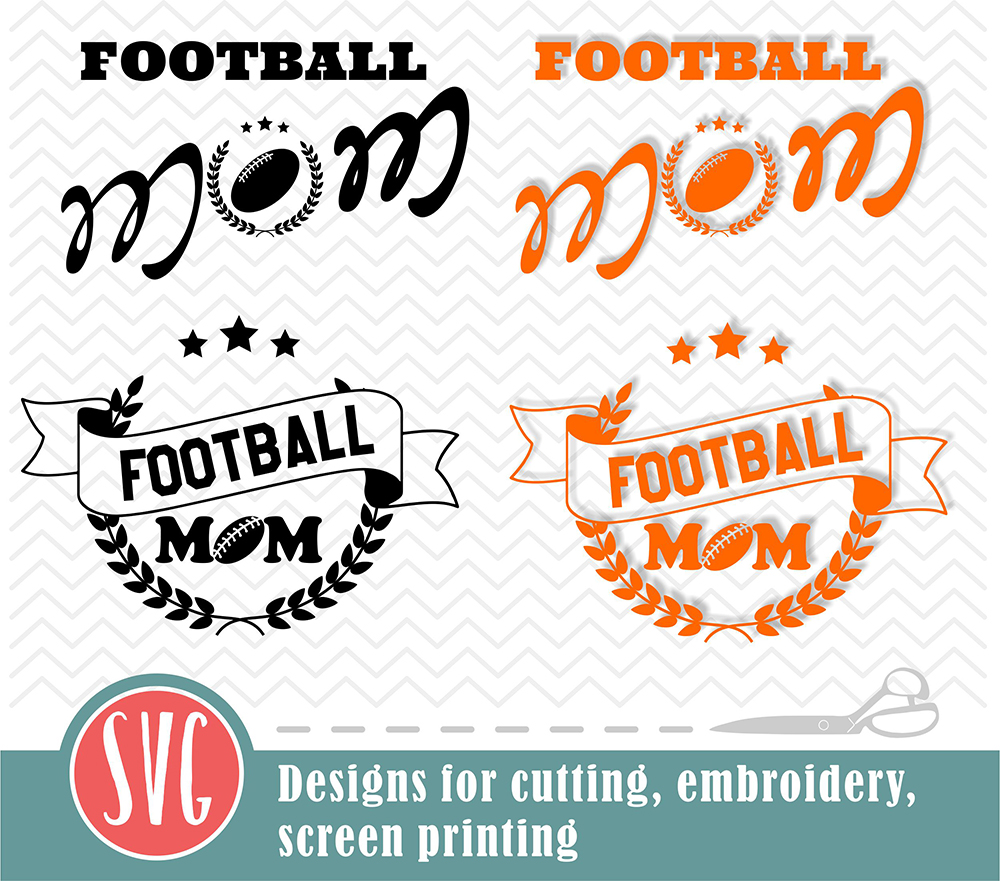 Football mom - 2 designs - SVG, EPS, PNG, JPG, DXF, AI example image 2