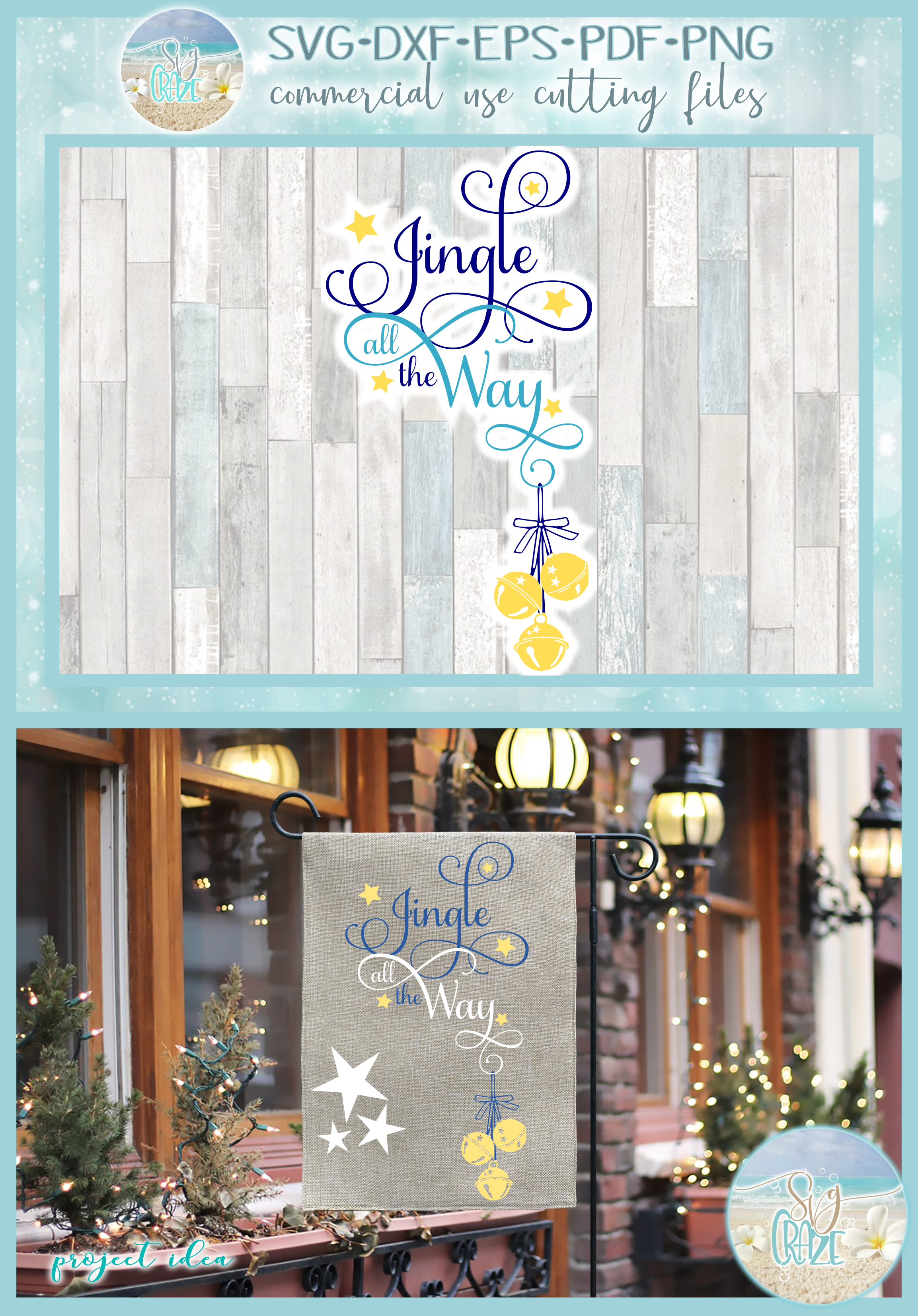Jingle All The Way Christmas Holiday Quote SVG example image 5