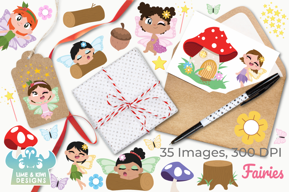 Fairies Clipart, Instant Download Vector Art, Commercial Use example image 4