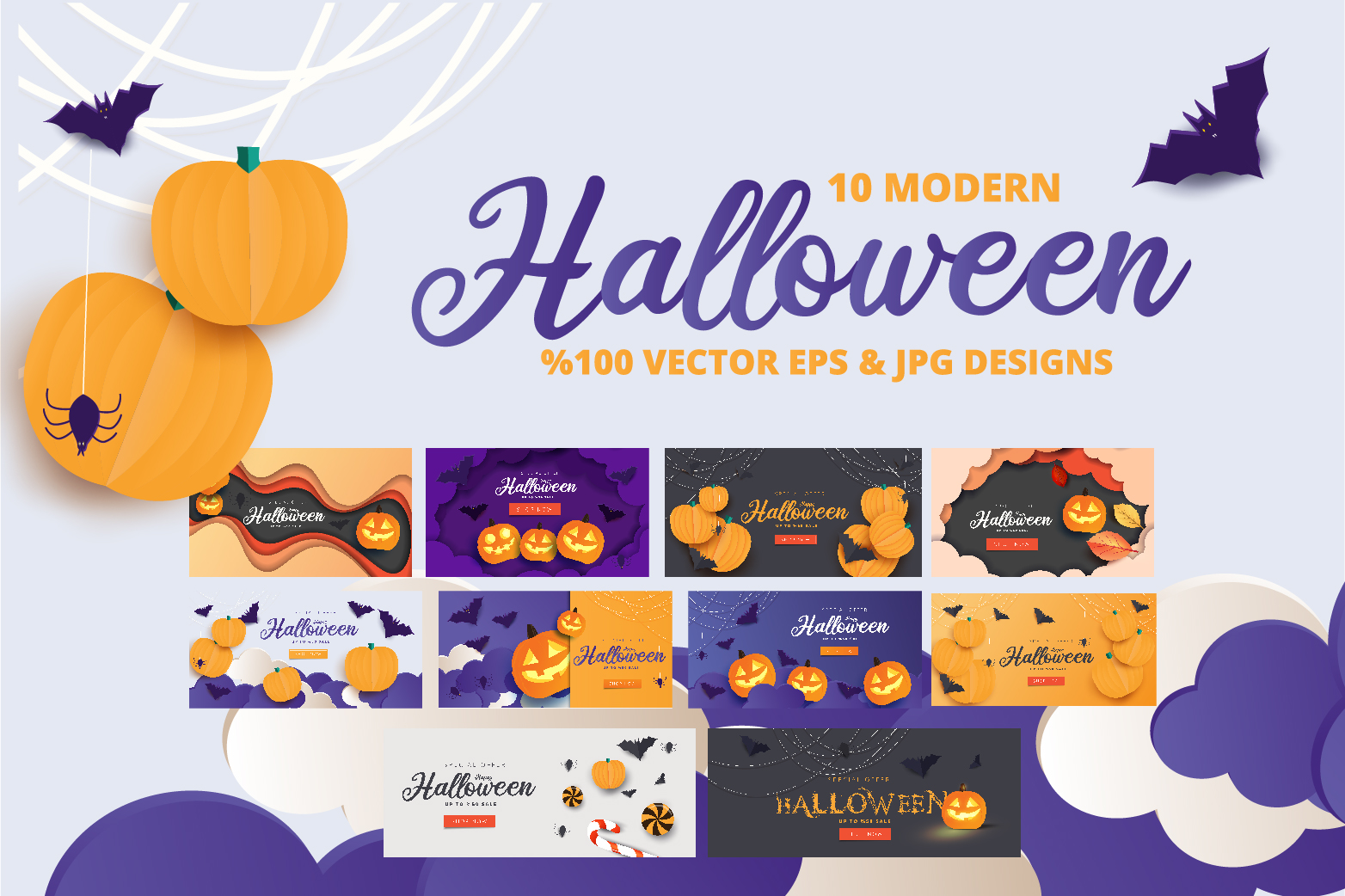 Halloween Sale header or banner design and invitation flyer example image 1