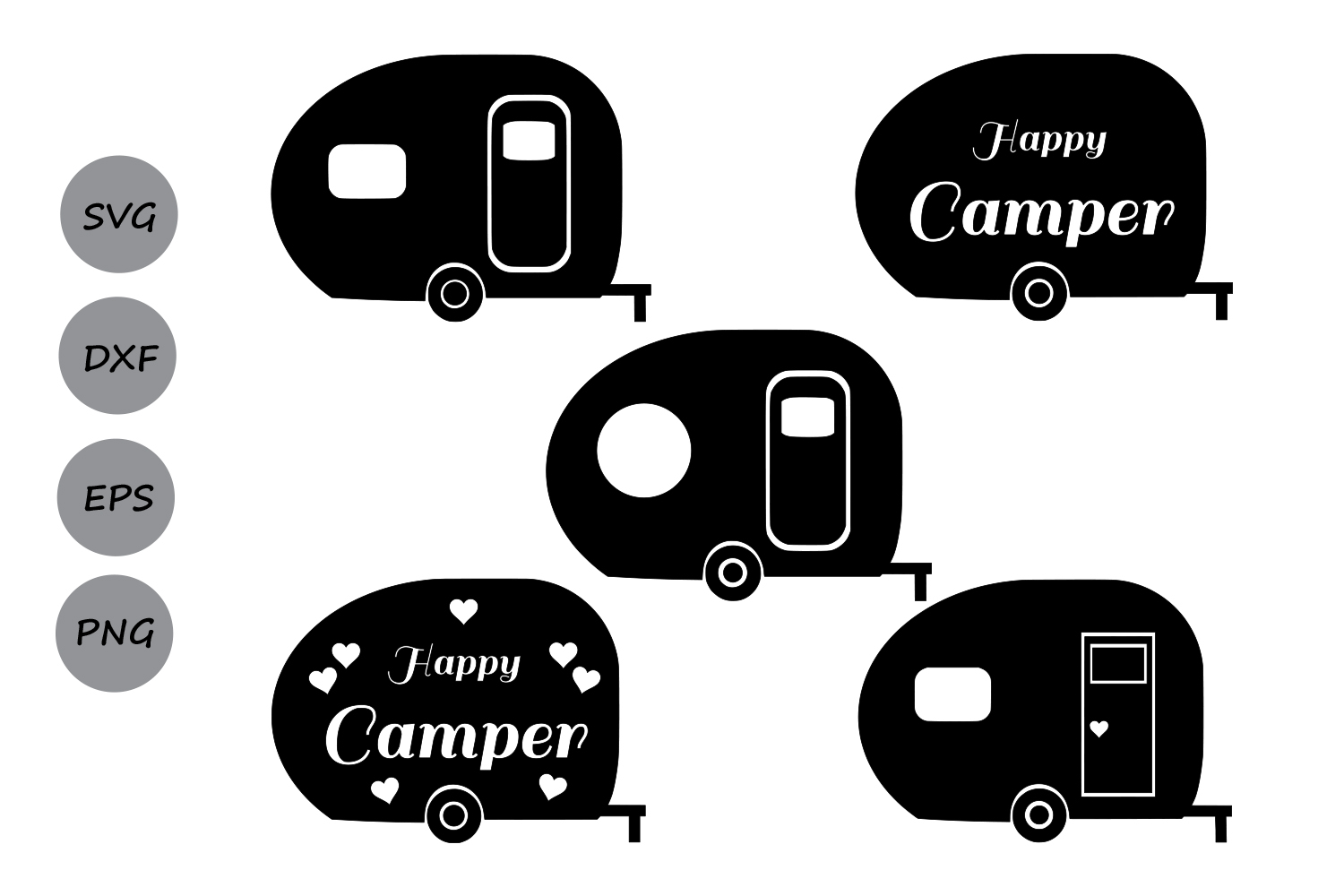 Camper SVG Cut Files Monogram Happy Camping Svg