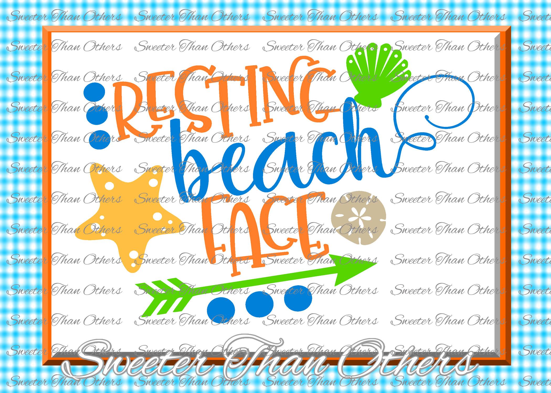 Beach Svg Resting Beach Face svg, Summer Beach example image 1