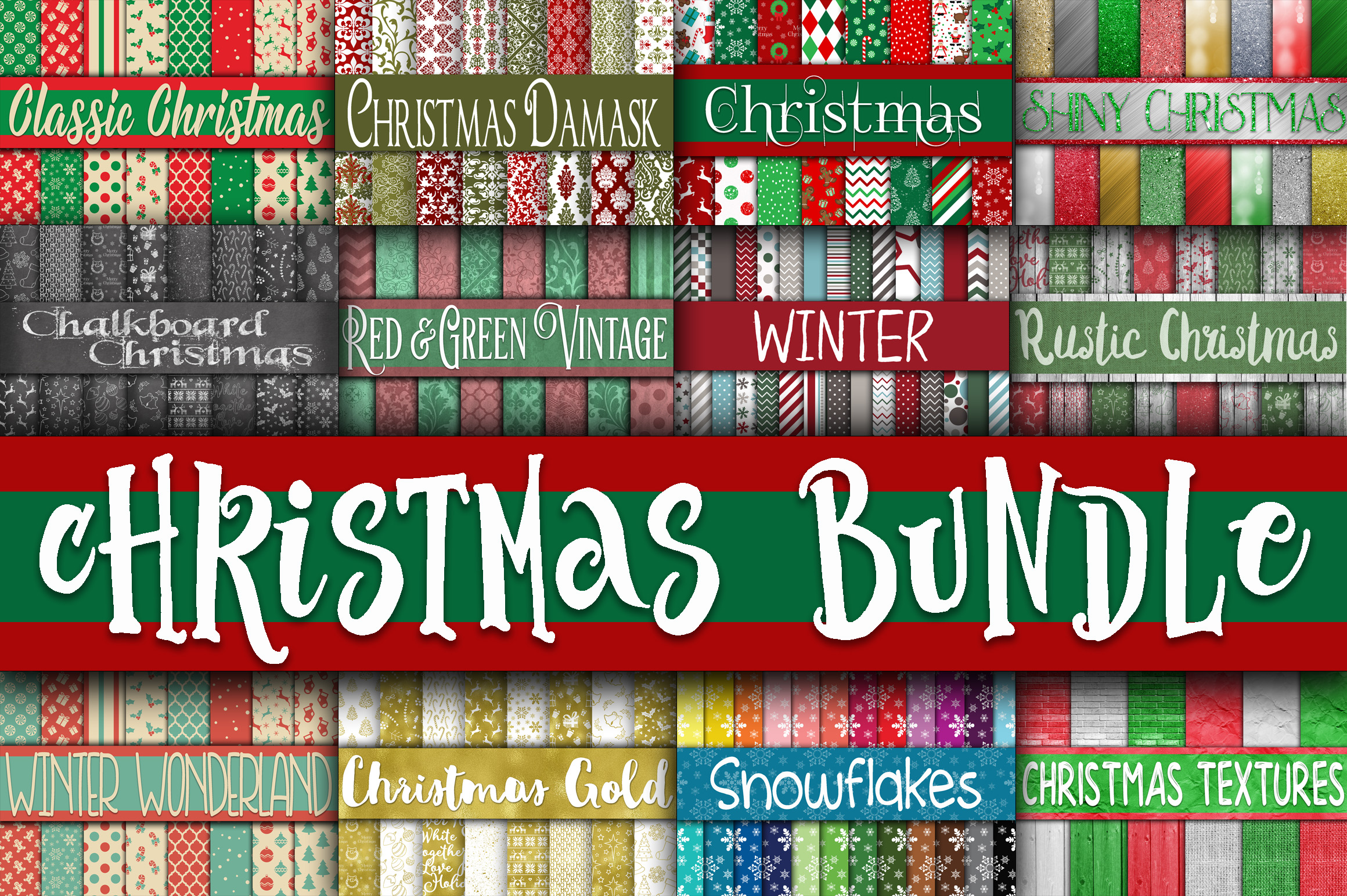 Christmas Bundle - Includes Over 200 Digital Papers example image 1
