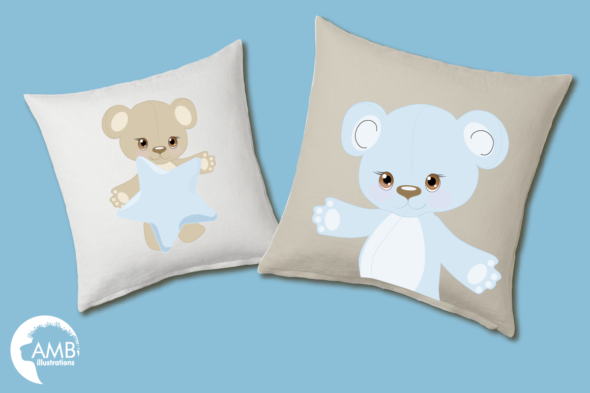 Teddy bear, nursery, baby boy, baby blue bear, clipart, graphics, llustrations AMB-1460 example image 4