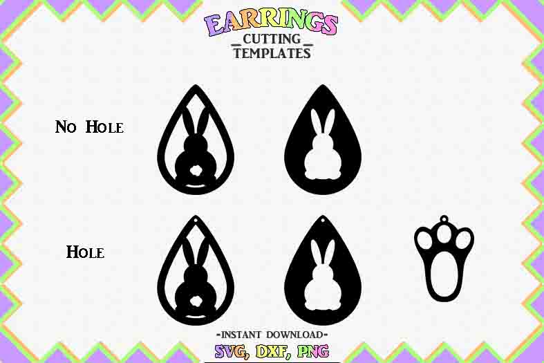 Easter Earrings, Silhouette, Cricut, Cut File, SVG DXF PNG example image 2